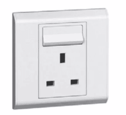 Legrand British Standard Socket Outlet - 1 Gang SP Switched + Neon - 13A - 250V~ - 617042